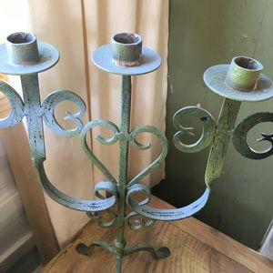 Painted Iron Metal Three Candle Candelabra Green